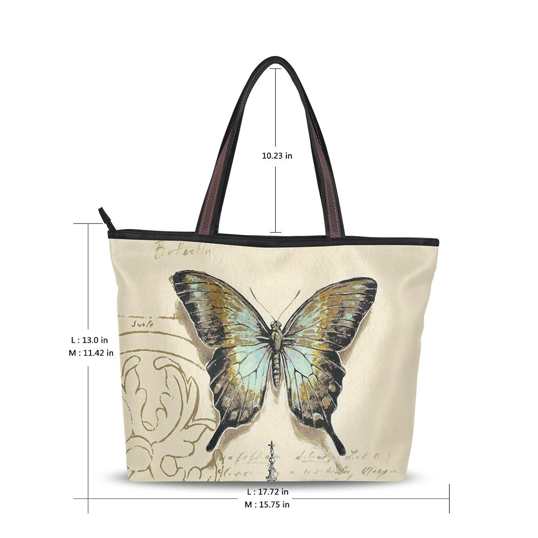 Women Large Tote Top Handle Shoulder Bags Flower Butterfly Ladies Handbag