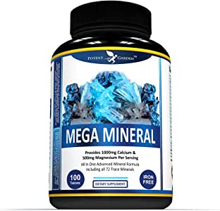 MultiMineral Plus 1000mg Calcium Magnesium Zinc D3 Supplement - All 72 Trace Minerals- Iron Free - Supports Bone Strength, Joint Flexibility, Heart Health & Immune System by Potent Garden