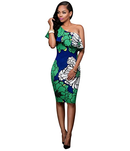 LKOUS Womens Vintage Floral Cocktail Pencil Dress One Off Shoulder Bodycon Midi Dress