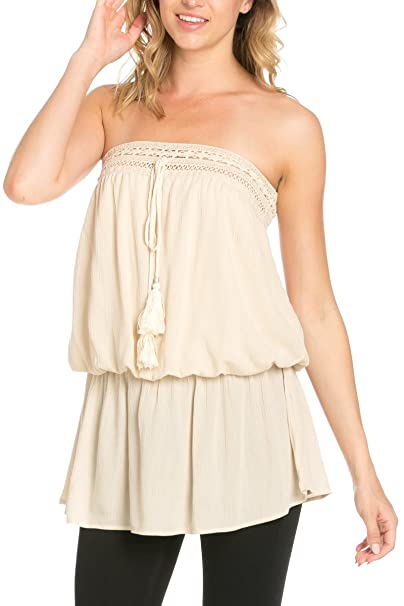 a0b264d7640 My Yuccie Women s Off the Shoulder Crochet Crop Top Tube Blouse Beige Small