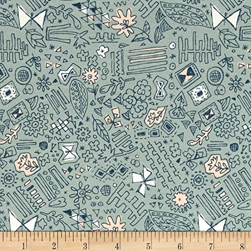 Art Gallery Fabrics Sketchbook Jersey Knit Fabric by the Yard, Doodlie Meander by Art Gallery Fabrics