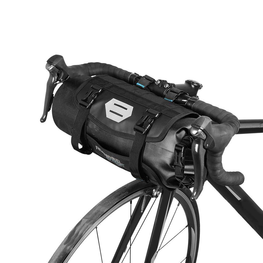 Lixada Bike Handlebar Bag, Cycling Handlebar Storage Bag Mountain Bicycle  Front Frame Bag Pannier Pouch with Roll Top Closure Waterproof for Road MTB