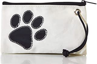 "product image for Sea Bags Paw Print Wristlet - Zip Top Wristlet - Recycled Sailcloth Wristlet - Nautical Wristlet - 8""l x 5""h"