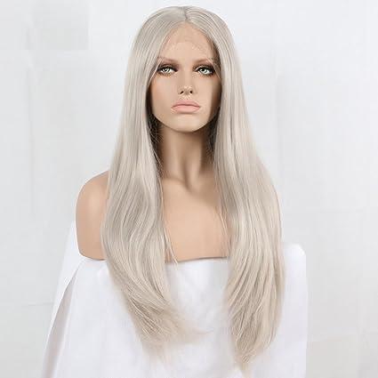 Largo Platinum gris ceniza natural recto peluca Lace Front sintético alta calidad Natural gris resistente al