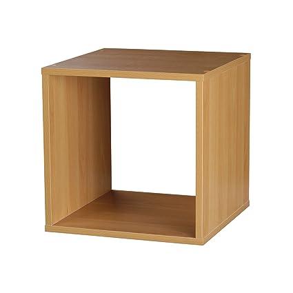 1, 2, 3, 4 Tier Wooden Bookcase Shelving Display Storage Wood Shelf Shelves  Unit (Cube, Beech): Amazon.co.uk: Kitchen U0026 Home