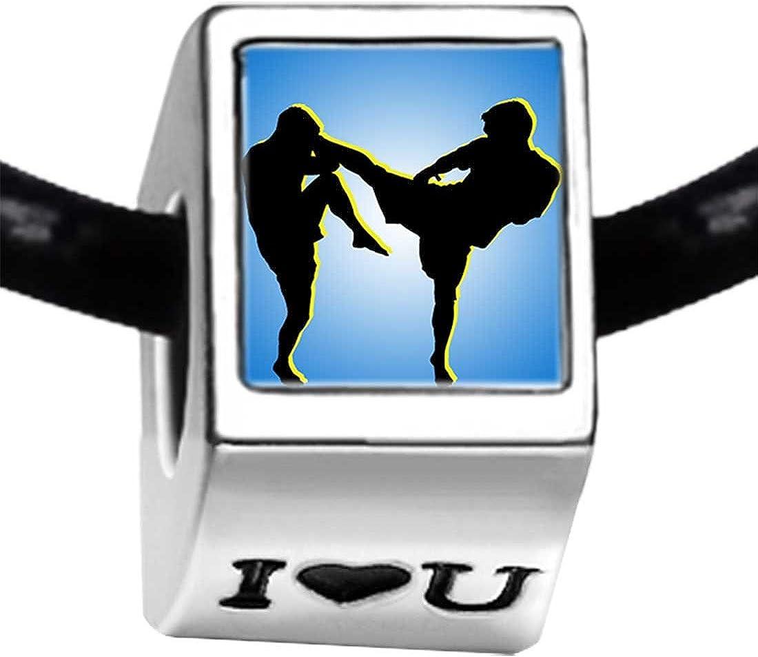 GiftJewelryShop Silver Plated Olympics Taekwondo Players Competition Photo I Love You Charm Bracelets