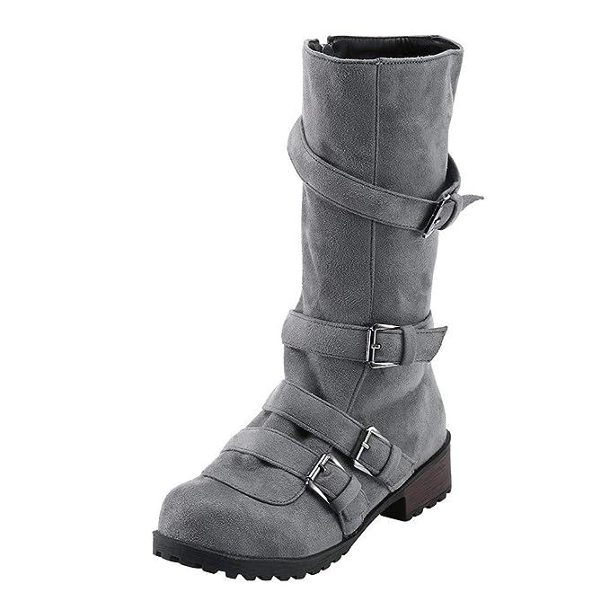 ❤ Botas de Tubo Alto para Mujer Hebilla, Zapatos Planos de Mujer Combat Riding Botines de Moda Botas de Hebilla Informal Absolute: Amazon.es: Ropa y ...