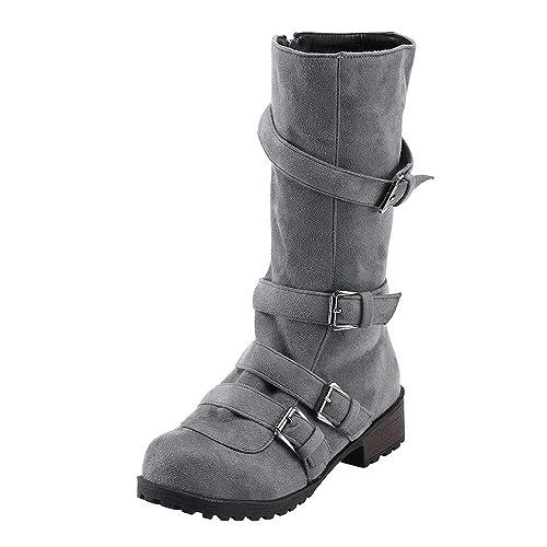 ... Negro Plano Pierna Alta Ante Casual Largo Alto Botas De Color SóLido Plana Martin Altas Botas Largas Zapatos Casuales: Amazon.es: Zapatos y complementos