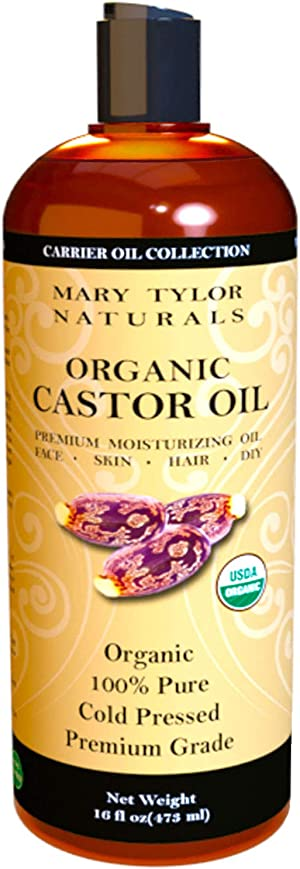 Organic Castor Oil (16 oz) USDA Certified, Cold Pressed, Hexane Free, 100% Pure, Amazing Moisturizer for Skin, Stimulates Growth for Hair, Eyelashes and Eyebrows By Mary Tylor Naturals