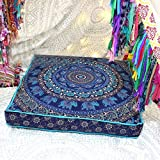 Sugun Indian Elephant Mandala Indian Bohemian Ottoman Poufs, Meditation Large Pillow Cases Sold By Creation Size 35x35 Inches - Single Piece