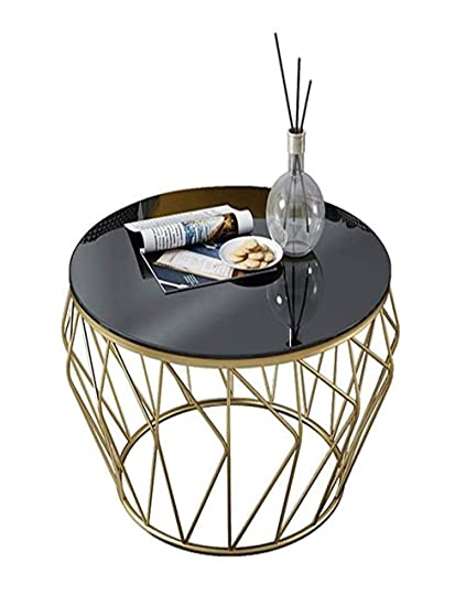 Amazon Com Round Wrought Iron Glass Coffee Table Tempered