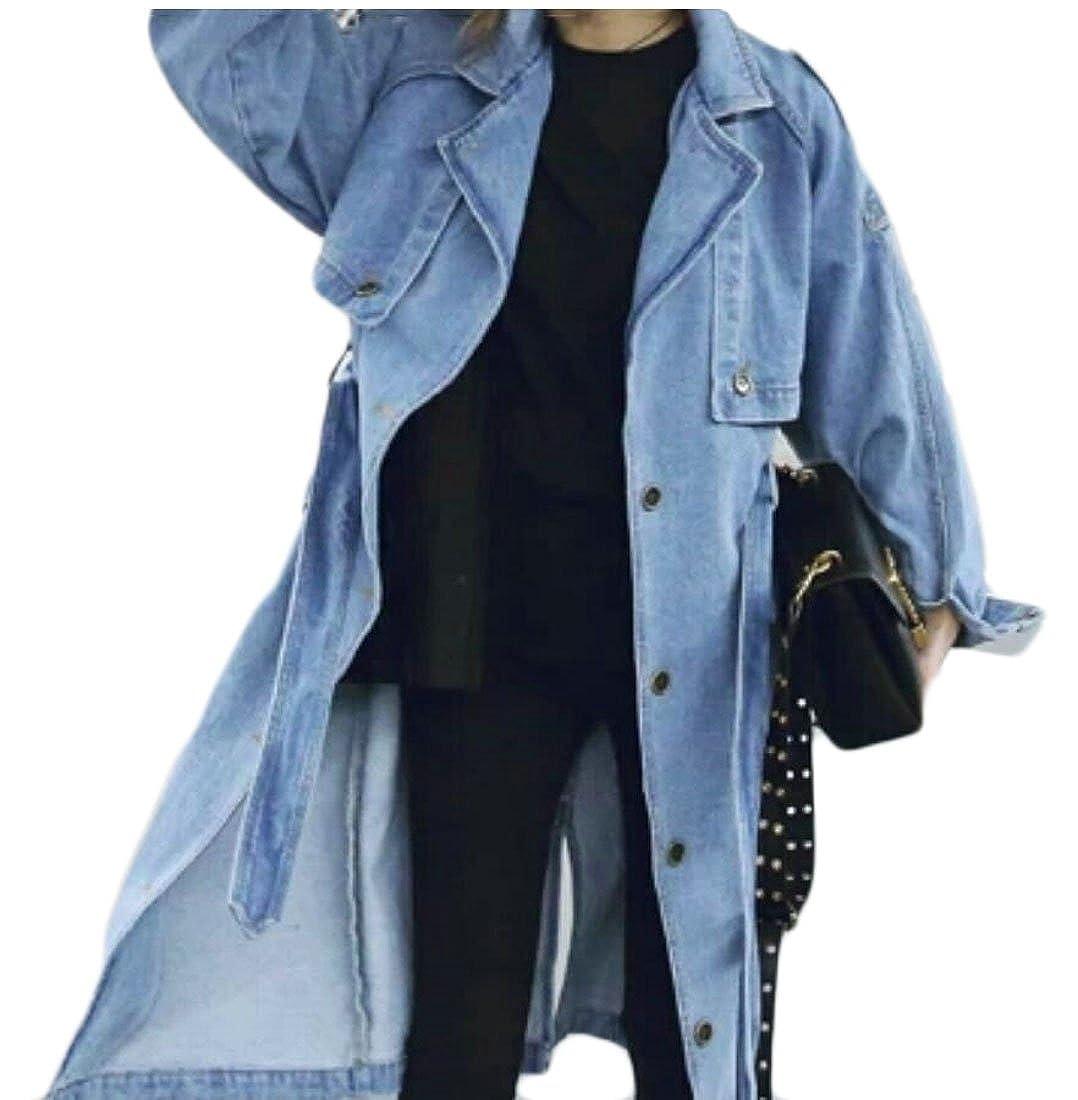 2ada6f9e52d ouxiuli Womens Loose Open Front Denim Jacket Windbreaker Trench Coat  Outwear at Amazon Women s Coats Shop