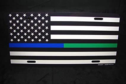 THIN BLUE LINE AMERICAN FLAG POLICE OFFICER METAL NOVELTY LICENSE PLATE TAG