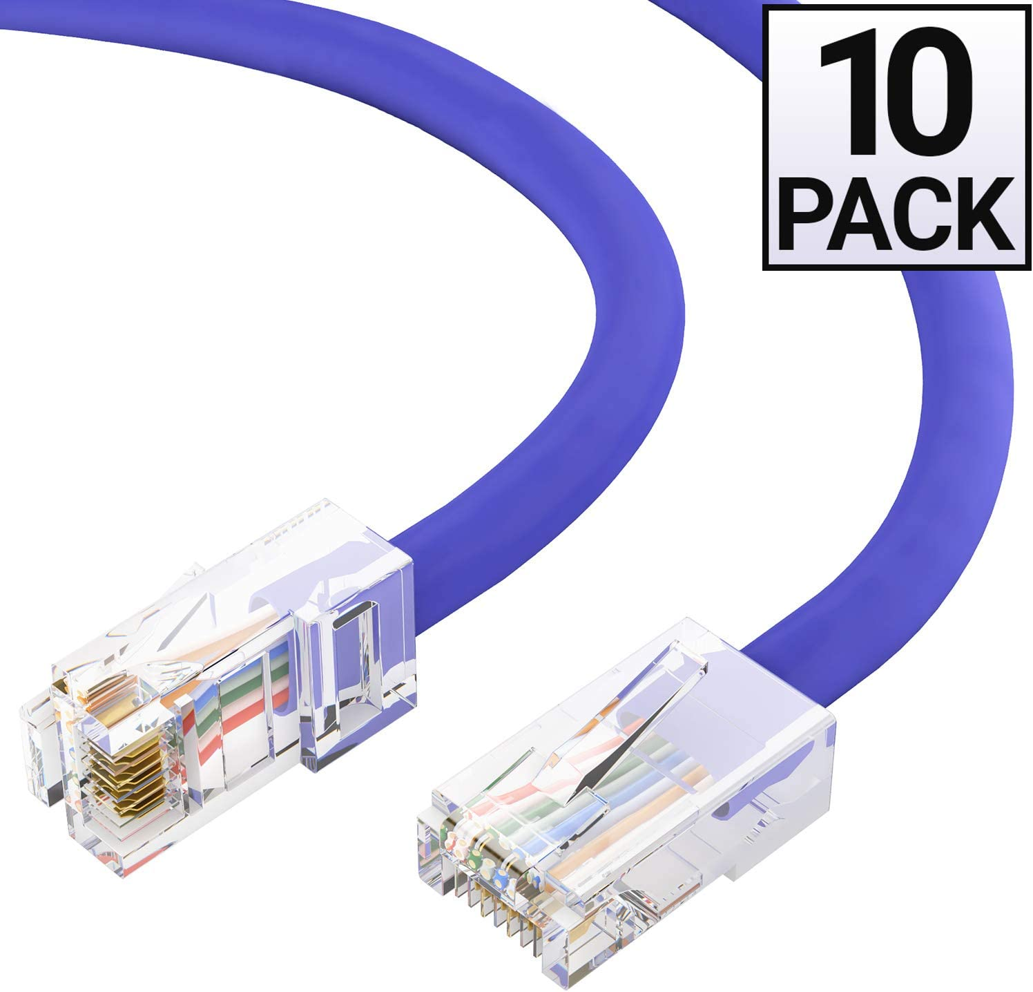 Gray GOWOS Cat6 Ethernet Cable 24AWG Network Cable with Gold Plated RJ45 Snagless//Molded//Booted Connector 550MHz 10-Pack - 5 FT 10 Gigabit//Sec High Speed LAN Internet//Patch Cable