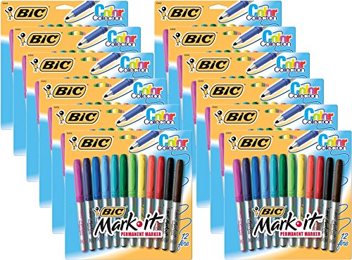 BIC Intensity Fashion Permanent Markers, Fine Point, Assorted Colors, 12-Count (packaging may vary)