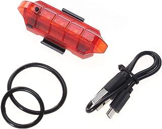 VORCOOL Luce Posteriore per Bicicletta USB Ricaricabile LED Light 4 modalità di Avvertimento di Sicurezza Bicicletta Luce di Coda della Bicicletta Accessori Notte (Rosso)