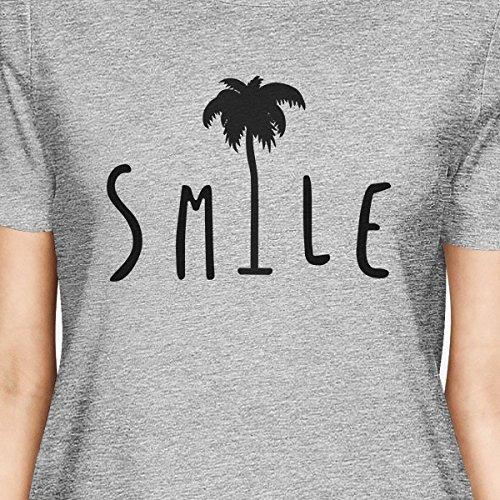 de mujer Tree Smile manga 365 para Printing Palm Grey corta Camiseta Camisa qgx1E7