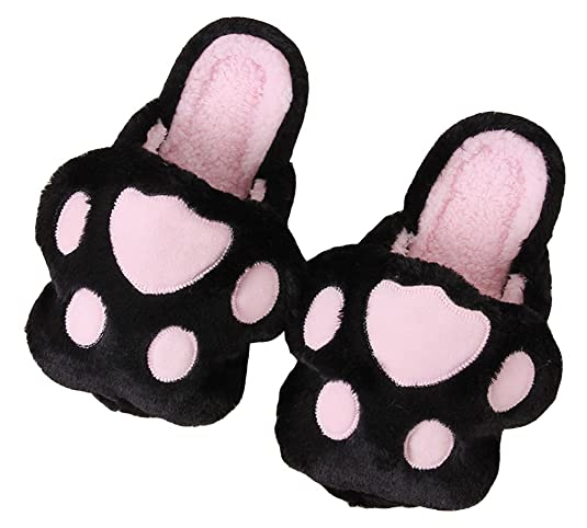 Women's Animal Claws Party Slipper Warm Shoes Indoor Outdoor Cute Slippers (6-7 B (M) US, Black)