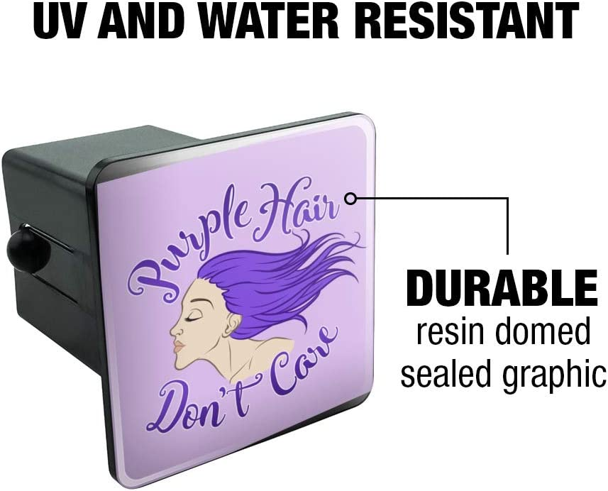 Graphics and More Purple Hair Dont Care Tow Trailer Hitch Cover Plug Insert