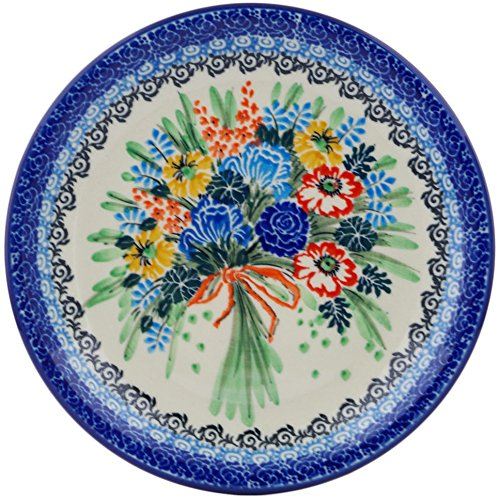Polish Pottery 8¼-inch Dessert Plate made by Ceramika Artystyczna (Fall Bouquet Theme) Signature UNIKAT + Certificate of Authenticity ()