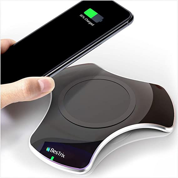 new concept 56978 c0a94 Wireless Charger Qi-Certified Fast Wireless Charging Pad 5W Compatible with  iPhone Xs Max/XR/XS/X/8/8 Plus 10W Samsung Galaxy S9/S9+/S8/S8+/S7/Note 8,  ...