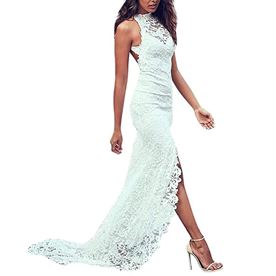 Likecrazy Lang Kleid Damen mode Spitze V-Ausschnitt ärmelloses Cocktail  Kleid Elegant Festlich Partykleid Chiffon Faltenrock Langes Kleid Beauty  Long Dress  ... 86e997c312