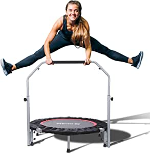 """BCAN 40"""" Foldable Mini Trampoline, Fitness Rebounder with Adjustable Foam Handle, Exercise Trampoline for Kids Adults Indoor/Garden Workout Max Load 330lbs"""