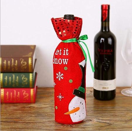 GFF Chimlams Decoraciones Navideñas Creativas Botellas de Vino Tinto Bolsas Viejo Hombre Muñeco de Nieve Elk 2P Rojo 30 * 13Cm: Amazon.es: Hogar