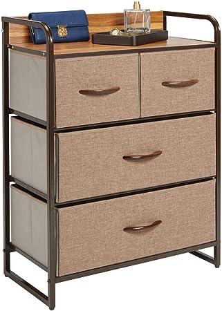 mDesign Cómoda para dormitorio con 4 cajones – Mueble con cajones ancho para el salón, la habitación o el pasillo – Cajonera de metal, MDF y tela para guardar ropa – marrón: Amazon.es: Hogar