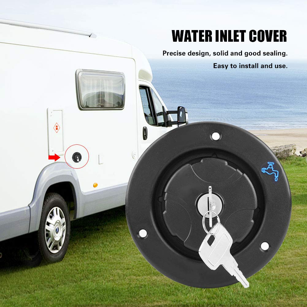 Silver KIMISS Recreational Vehicle RV Trailer Water Filling Inlet Locking Cover Cap with Keys