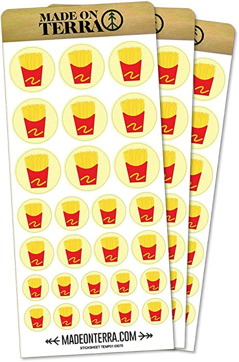 French Fries Fast Food Snack Removable Matte Sticker Sheets Set