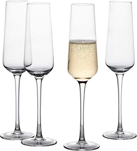 GoodGlassware Champagne Flutes (Set Of 4) 8.5 oz – Tall, Crystal Clear Clarity, Classic