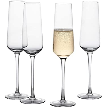 GoodGlassware Champagne Flutes (Set Of 4) 8.5 oz – Crystal Clear Clarity, Classic and Seamless Tower Design - Lead Free Glass, Dishwasher Safe, Quality Sparkling Wine Stemware Set