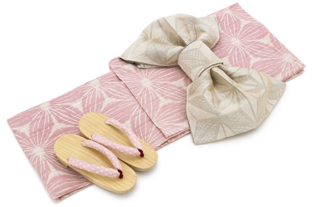 レディース浴衣セット(浴衣/兵児帯) bonheur saisons ボヌールセゾン 桃色 ピンク 麻の葉 綿麻 ゆかた 女性 花火大会 夏祭り B01HSUX9LQ 浴衣セット+着付け5点セット 浴衣セット+着付け5点セット -