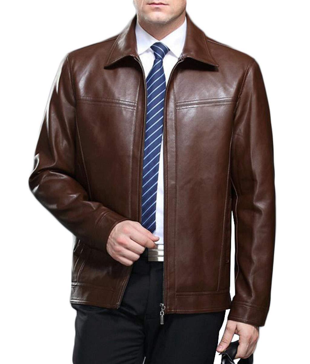 Chaud En Brown couleur Moyen L Cuir Portent D'hiver Veste D'âge Zjexjj Limited Taille Épais Papa Hommes q4PEEg