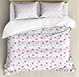 Eiffel Duvet Cover Set Queen Size by Ambesonne, Famous Traditional French Food Tasty Macaroons Delicious Retro Deserts Dots, Decorative 3 Piece Bedding Set with 2 Pillow Shams, Pink Grey White