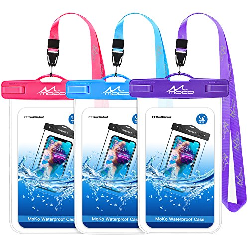 MoKo Waterproof Phone Pouch 3 Pack, Underwater Waterproof Cellphone Case Dry Bag with Lanyard Compatible with iPhone X/Xs/Xr/Xs Max, 8/7/6s Plus, Samsung S10/S9/S8 Plus, S10 e, Note 10/9/8, Up to 6.6