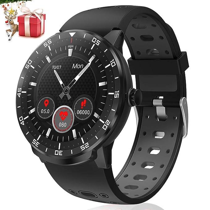 Smartwatch Reloj Inteligente, HopoFit HF06 Pantalla Táctil Completa Circular Impermeable Podómetro Pulsómetros, Monitor de Sueño, Notificación Llamada y Mensaje,para Andriod iOS,Hombres Mujeres(black)