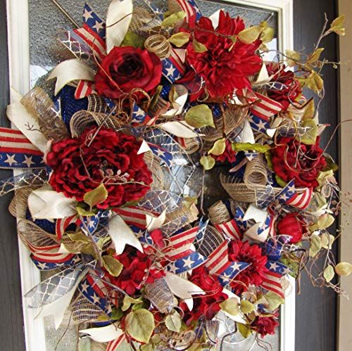 (XL Deluxe Elegant Rustic Red Floral Americana 4th of July Patriotic Front Door Deco Mesh Wreath, French Country, Classic)