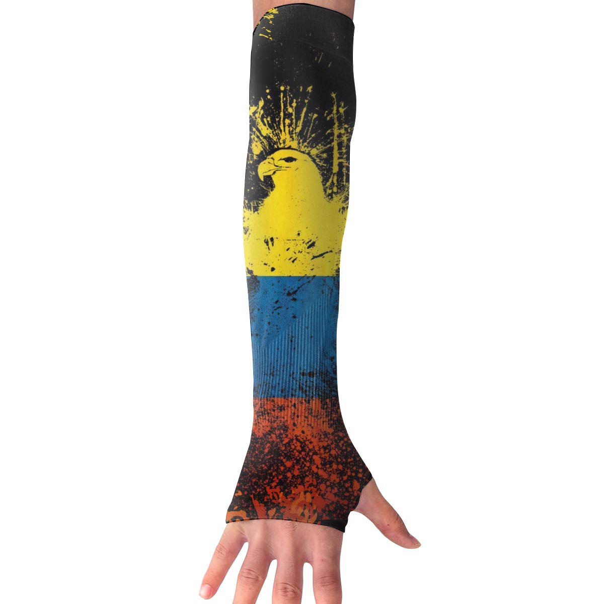 Arm Cooling Sleeves Colombian Flag and Eagle UV Sun Protection Arm Cover Hand Covers