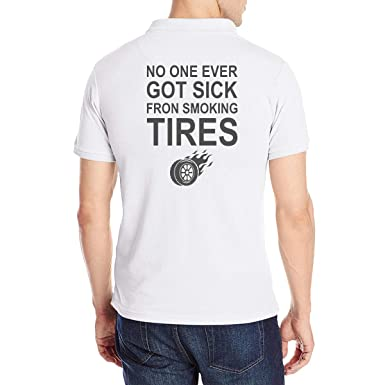 1c80181f Men's No One Ever Got Sick Fron Smoking Tires Short Sleeve Polo Shirt  Classic Cotton T-Shirt Tee at Amazon Men's Clothing store: