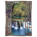 Super Soft Throw Blanket Custom Design Cozy Fleece Blanket,House Decor,Wide Waterfall Deep down in the Forest Seen from A City Window Epic Surreal Decorative Print,Multi,Perfect for Couch Sofa or Bed