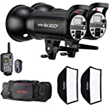 Godox SK300II Kit Including 2 x Flash Head Kit with 2 x Softboxes, 1 x XT-16 Trigger, 2 x Reflectors and Carrying Bag