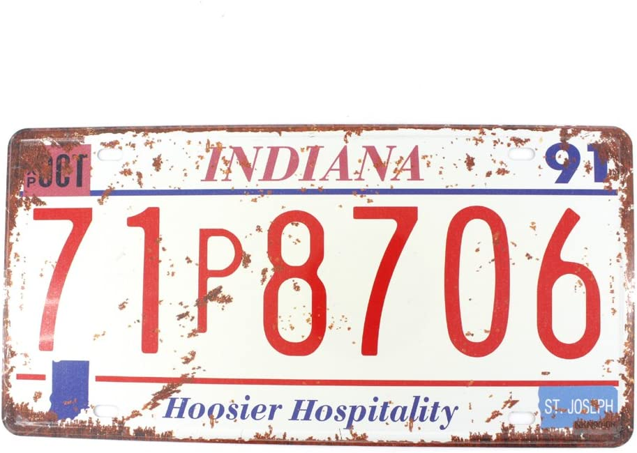 6x12 Inches Vintage Feel Metal Tin Sign Plaque for Home,bathroom and Bar Wall Decor Car Vehicle License Plate Souvenir (INDIANA HOOSIER HOSPITALITY)