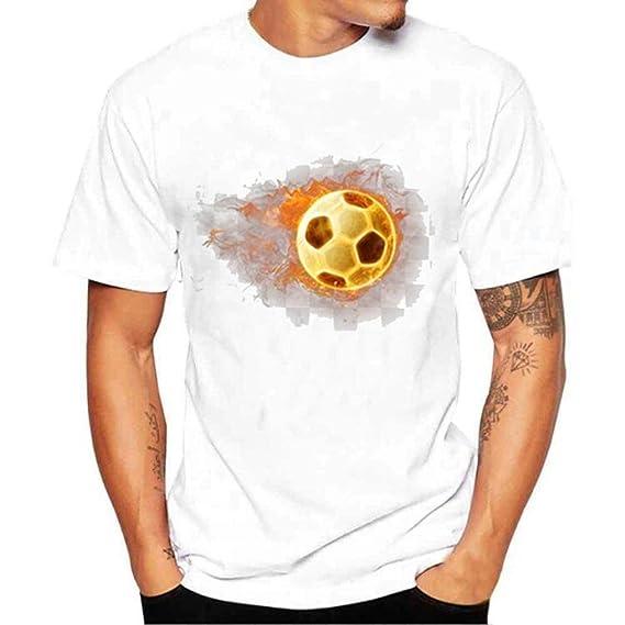 Camisetas Blancas De AlgodóN Hombre Futbol LHWY, Remera Talla Grande Camisetas Suelto Cuello Redondo Manga