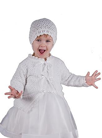 Veste + Bonnet Blanc Fille pour baptême Crochet doublé  Amazon.fr ... bf9c344323d
