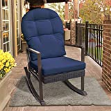 Outdoor Wicker Rocking Chair with Foot Rest, Outdoor Glider Recliner Patio Armchair Lounge Chair, All Weather Porch Deck Chair, UV Resistant and Anti-Rust Aluminum Frame(Navy Blue) Review