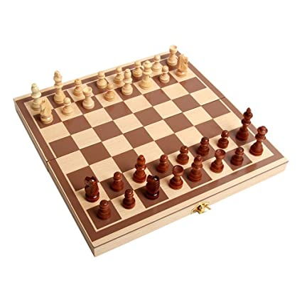 Generic Wooden Chess Toys Set Wooden Puzzle Chess Folding Chessboard Chess Set International Chess Intellectual Training for Children