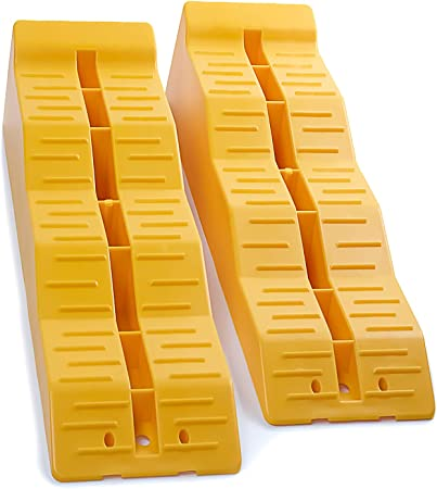 Amazon Com Oxgord Rv Leveling Ramps Camper Or Trailer Leveler Wheel Chocks For Stabilizing Uneven Ground And Parking Set Of 2 Blocks Yellow Automotive
