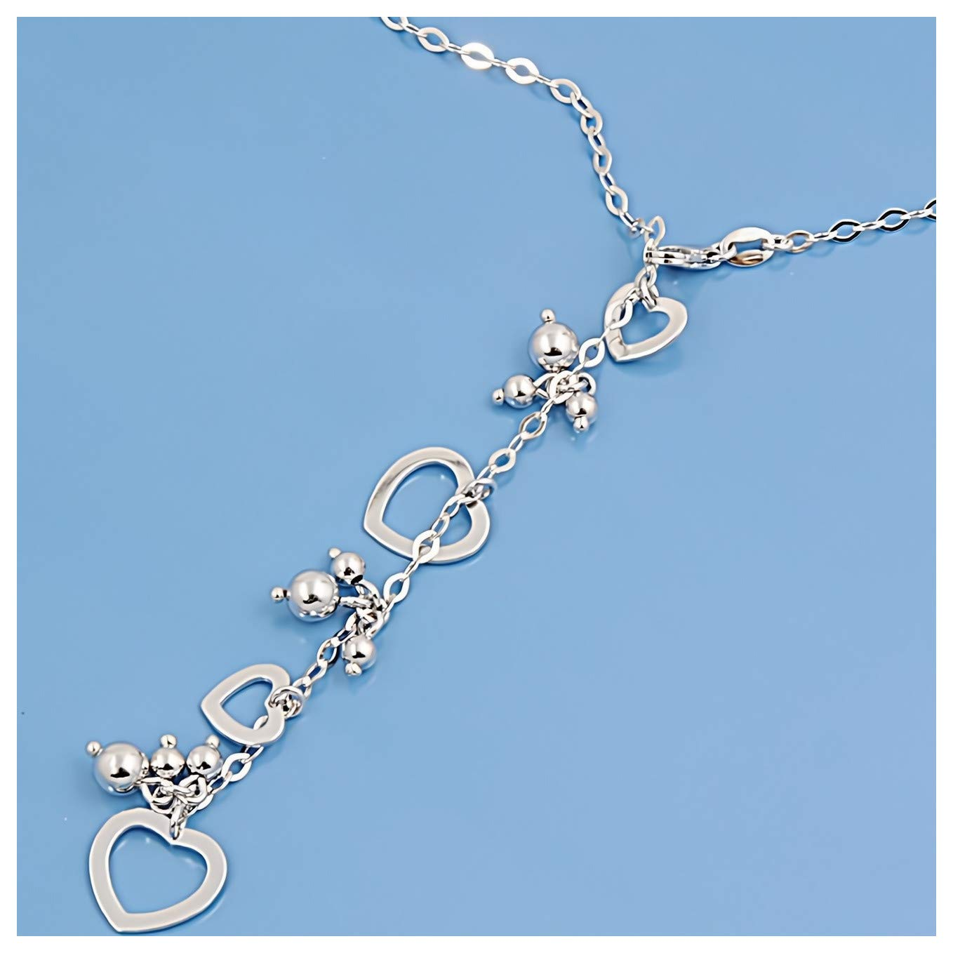 Glitzs Jewels 925 Sterling Silver Cubic Zirconia Necklace for Women